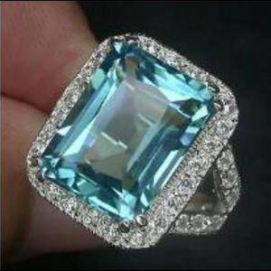 💙Blue/ green aquamarine 925 ring